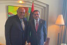 شكرى يعقد مباحثات مع رئيس حكومة الوحدة الوطنية الليبية بطرابلس